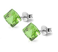 Cube Simulated Crystal Stud Earrings Sterling Silver Simulated Peridot