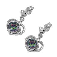 Sterling Silver Heart Dangle Rainbow Simulated Topaz Cubic Zirconia Earrings