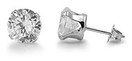 Round Stud Earrings Cubic Zirconia Sterling Silver 6MM