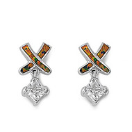 Designer Style Cubic Zirconia Black Simulated Opal Earrings Sterling Silver 21MM
