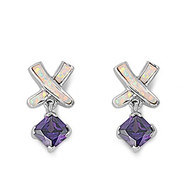 Designer Style Cubic Zirconia White Simulated Opal Earrings Sterling Silver 21MM
