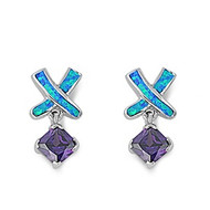 Designer Style Cubic Zirconia Blue Simulated Opal Earrings Sterling Silver 21MM
