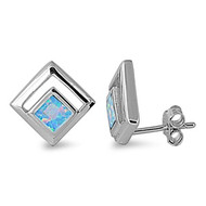 Paragon Shape Blue Simulated Opal Earrings Sterling Silver 10MM