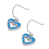 Heart Blue Simulated Opal Earrings Sterling Silver 33MM