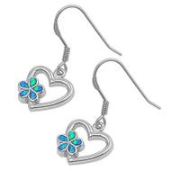 Heart Flower Blue Simulated Opal Earrings Sterling Silver 17MM