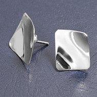Bent Designer Style Earrings Sterling Silver 18MM