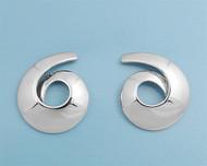 Sterling Silver Swirl Shell Design Earrings 20MM