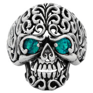 Floral Filigree Skull Ring Sterling Silver 925 Simulated Aqua Blue Cubic Zirconia Eyes