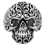 Floral Filigree Skull Ring Sterling Silver 925 Black Cubic Zirconia Eyes