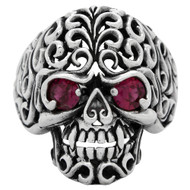 Floral Filigree Skull Ring Sterling Silver 925 Simulated Garnet Red Cubic Zirconia Eyes