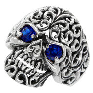 Floral Filigree Skull Ring Sterling Silver 925 Simulated SAPPHIRE Red Cubic Zirconia Eyes