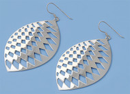 Checkered Pattern Pear Dangle Earrings Sterling Silver 62MM