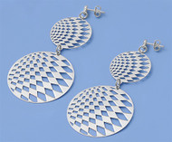 Checkered Double Round Dangle Earrings Sterling Silver 63MM