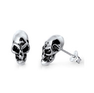 Alien Skull Stud Earrings Sterling Silver 12MM