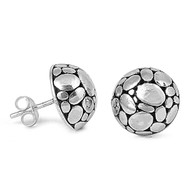 Spotted Round Stud Earrings Sterling Silver 12MM