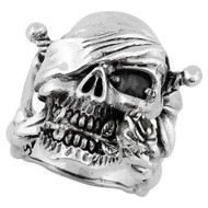 Decaying Joy Skull Sterling Silver 925 Black Cubic Zirconia