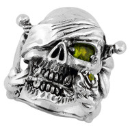 Decaying Joy Skull Sterling Silver 925 Olive Green Cubic Zirconia