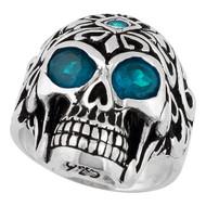Regal Rogue Simulated Aqua Blue Cubic Zirconia Eyes Skull Sterling Silver 925