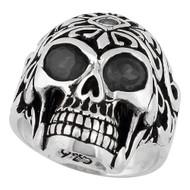 Regal Rogue Black Cubic Zirconia Eyes Skull Sterling Silver 925
