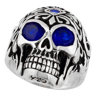 Regal Rogue Simulated Sapphire Blue Cubic Zirconia Eyes Skull Sterling Silver 925