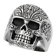 Evergreen Skull Ring Sterling Silver 925
