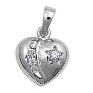 Heart Cubic Zirconia Pendant Sterling Silver 12MM