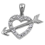 Heart Cubic Zirconia Pendant Sterling Silver 14MM