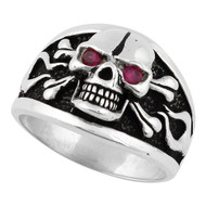 Flaming Danger Skull Ring Sterling Silver 925 Simulated Garnet Red Cubic Zirconia Eyes
