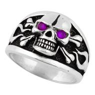 Flaming Danger Skull Sterling Silver 925 Purple Cubic Zirconia Eyes