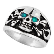 Flaming Danger Skull Sterling Silver 925 Simulated Aqua Blue Cubic Zirconia Eyes