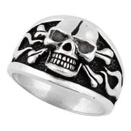 Flaming Danger Skull Sterling Silver 925 Black Cubic Zirconia Eyes