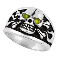 Flaming Danger Skull Sterling Silver 925 Olive Green Cubic Zirconia Eyes