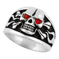 Flaming Danger Skull Sterling Silver 925 Simulated Ruby Red Cubic Zirconia Eyes