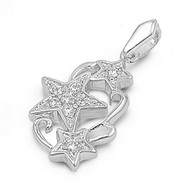 3 SuperStars Pendant Cubic Zirconia Sterling Silver 20MM