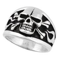 Flaming Danger Skull Ring Sterling Silver 925