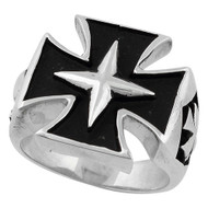 Four Pointed Star Sterling Silver Skull Ring Angled View