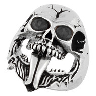 Demon Skull Sterling Silver Jewelry With Black Cubic Zirconia Eyes