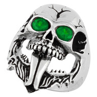 Demon Skull Sterling Silver 925 Green Cubic Zirconia Eyes