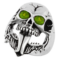 Demon Skull Sterling Silver 925 Olive Green Cubic Zirconia Eyes