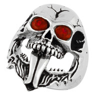 Demon Skull Sterling Silver 925 Simulated Ruby Red Cubic Zirconia Eyes
