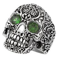 Dia De Muertos Floral Skull Ring Sterling Silver 925 Green Cubic Zirconia Eyes