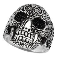 Dia De Muertos Floral Skull Ring Sterling Silver 925