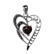 Heart-Shaped Clear Cubic Zirconia Center Simulated Marcasite Heart Pendant Sterling Silver 33MM