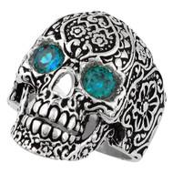 Dia De Muertos Floral Skull Sterling Silver 925 Simulated Aqua Blue Cubic Zirconia Eyes