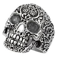 Dia De Muertos Floral Skull Sterling Silver 925 Black Cubic Zirconia Eyes