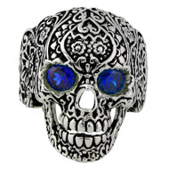 Dia De Muertos Floral Skull Sterling Silver 925 Simulated Sapphire Blue Cubic Zirconia Eyes