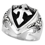 Dragon Shield Cross Ring Sterling Silver 925