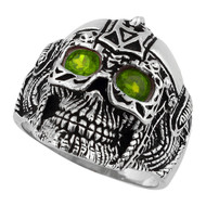 Barbarian Warlord Skull Sterling Silver 925 Olive Green Cubic Zirconia Eyes