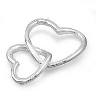 Attached Double Hollow Heart Pendant Sterling Silver 24MM