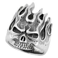Fire Demon Skull Ring Sterling Silver 925